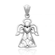 925 Sterling Silver Fairytale Angel Heart Charm Pendant