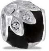 DaVinci Black CZ Flower Bead