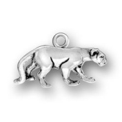 Sterling Silver Charm Pendant Panther Cat Cougar 3d