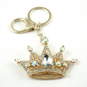 Sommet Gold Tone Rhinestone White Crown Design Hook Clip Keychain Keyring Charm