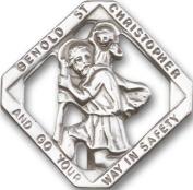 Antique Silver St. Christopher Visor Clip