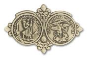 Antique Gold St. Christopher / St Michael Visor Clip