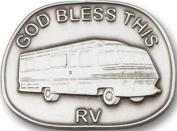 Antique Silver God Bless This Rv Visor Clip