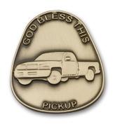 Antique Gold God Bless This Pickup Visor Clip