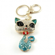 Sommet Gold Tone Rhinestone Blue Kitty Cat Design Hook Clip Keychain Keyring Charm