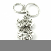 Sommet Silver Tone Rhinestone Black Owl Design Hook Clip Keychain Keyring Charm