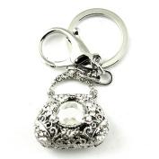 Sommet Silver Tone Rhinestone White Purse Design Hook Clip Keychain Keyring Charm