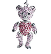 Lilly Rocket Two-tone Pink Rhinestone Jointed Teddy Bear Key Chain with. Crystals