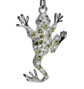 Lilly Rocket White and Green Rhinestone Jumping Frog Key Chain with. Crystals