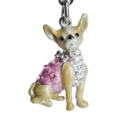 Lilly Rocket Yellow and Pink Enamel Chihuahua Key Chain with. Crystals