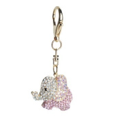 Lilly Rocket Pink and AB Crystal Elephant Key Chain with. Crystals