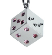 """Lilly Rocket """"Las Vegas"""" Dice Keychain with. Crystals - Pink Rhinestone"""