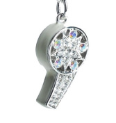 Lilly Rocket White Enamel and Rhinestone Whistle Key Chain with. Crystals