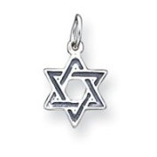 Sterling Silver Antiqued Star Of David Charm - JewelryWeb