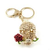 Sommet Gold Tone Rhinestone Skull And Rose Design Hook Clip Keychain Keyring Charm