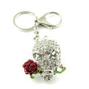 Sommet Silver Tone Rhinestone Skull And Rose Design Hook Clip Keychain Keyring Charm