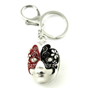 Sommet Silver Tone Rhinestone Mask Design Hook Clip Keychain Keyring Charm