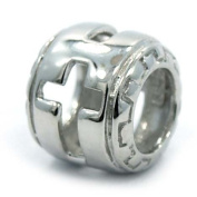 """.925 Sterling Silver """" Cross Design on Barrel Style """" Charm Bead Compatible with Pandora Chamilia Kay Troll Bracelet"""
