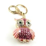 Sommet Gold Tone Rhinestone Pink Owl Design Hook Clip Keychain Keyring Charm