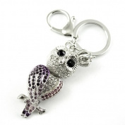 Sommet Silver Tone Rhinestone Purple Owl Design Hook Clip Keychain Keyring Charm