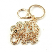 Sommet Gold Tone Rhinestone Elephant Design Hook Clip Keychain Keyring Charm