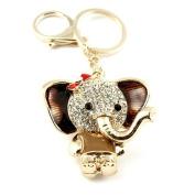 Sommet Gold Tone Rhinestone Brown Elephant Design Hook Clip Keychain Keyring Charm