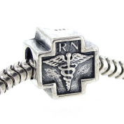 Queenberry Sterling Silver Rn Registered Nurse Cross Bead For Pandora Troll Chamilia Biagi European Charm Bracelets