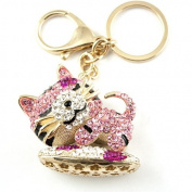 Sommet Gold Tone Rhinestone Pink Sleepy Kitty Design Hook Clip Keychain Keyring Charm