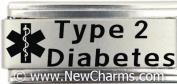 Type 2 Diabetes Medical Alert Italian Charm Bracelet Jewellery Link