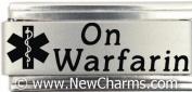 On Warfarin Medical Alert Italian Charm Bracelet Jewellery Link