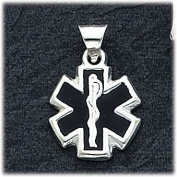 Black Enamelled Caduceus/Medical Pendant Charm, Sterling Silver