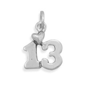 Just Turned Teen Heart Number 13 Charm Sterling Silver, Made in the USA