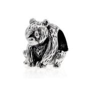 Sterling Silver Sitting Bear Charm , Fits Pandora, Chamilia, Jovana Bracelet