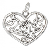 "Sterling Silver Open Filigree Heart ""Granddaughter"" Charm"