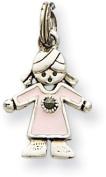 Enamelled Girl Charm, Sterling Silver