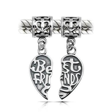 Bling Jewellery Best Friends Sterling Silver Heart Dangle Charm Bead Fits Pandora