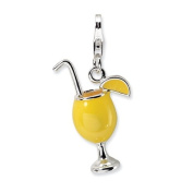 Sterling Silver 3-D Enamelled Tropical Drink W/Lobster Clasp Charm