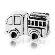 Sterling Silver Fire Truck Charm , Fits Jovanacollection, Pandora, Chamilia, Troll Bracelet