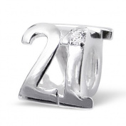 .925 Sterling Silver Number 21 Twenty One 21st Birthday Charm Bead Fits Pandora Charm Bead Bracelet