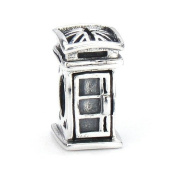 Moress British English London Style Public Phone Box / Booth Flag, Royal Guard - Dr Who - Solid Sterling Silver Fits Perfectly on Chamilia Pandora and Compatible Brands