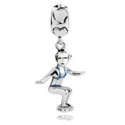 Sterling Silver Girl on Surfboard Dangle Charm with Blue Enamel Swimming Suit , Fits Pandora, Jovana Bracelet