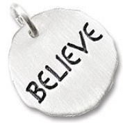 "Rembrandt Charms ""Believe"" Charm Tag, Rhodium Plated Silver"