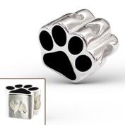 925 Sterling Silver Puppy Dog Paw Print Pawprint Charm Bead Fits Pandora Charm Bead Bracelet
