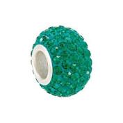 Sterling Silver Emerald Green. Crystal Birthstone Bead Charm Fits Pandora, Troll, Zable, Reflections
