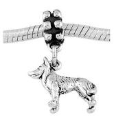 Sterling Silver Siberian Husky Dog Dangle Bead Charm
