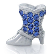 COWBOY BOOTS Blue Clothing Accessories Solid Sterling Silver CZ Crystals Fits European Charm Bead Bracelets