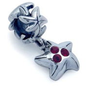 STAR FISH Red Animal Solid Sterling Silver CZ Crystals Dangle Fits European Charm Bead Bracelets