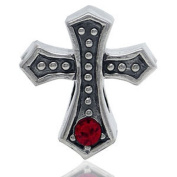 CROSS Red Holidays Christmas Religious Solid Sterling Silver CZ Crystals Fits European Charm Bead Bracelets