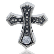 CROSS Clear Holidays Christmas Religious Solid Sterling Silver CZ Crystals Fits European Charm Bead Bracelets