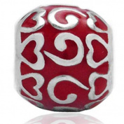Red Enamel Hearts Christmas Solid Sterling Silver Fits European Charm Bead Bracelets